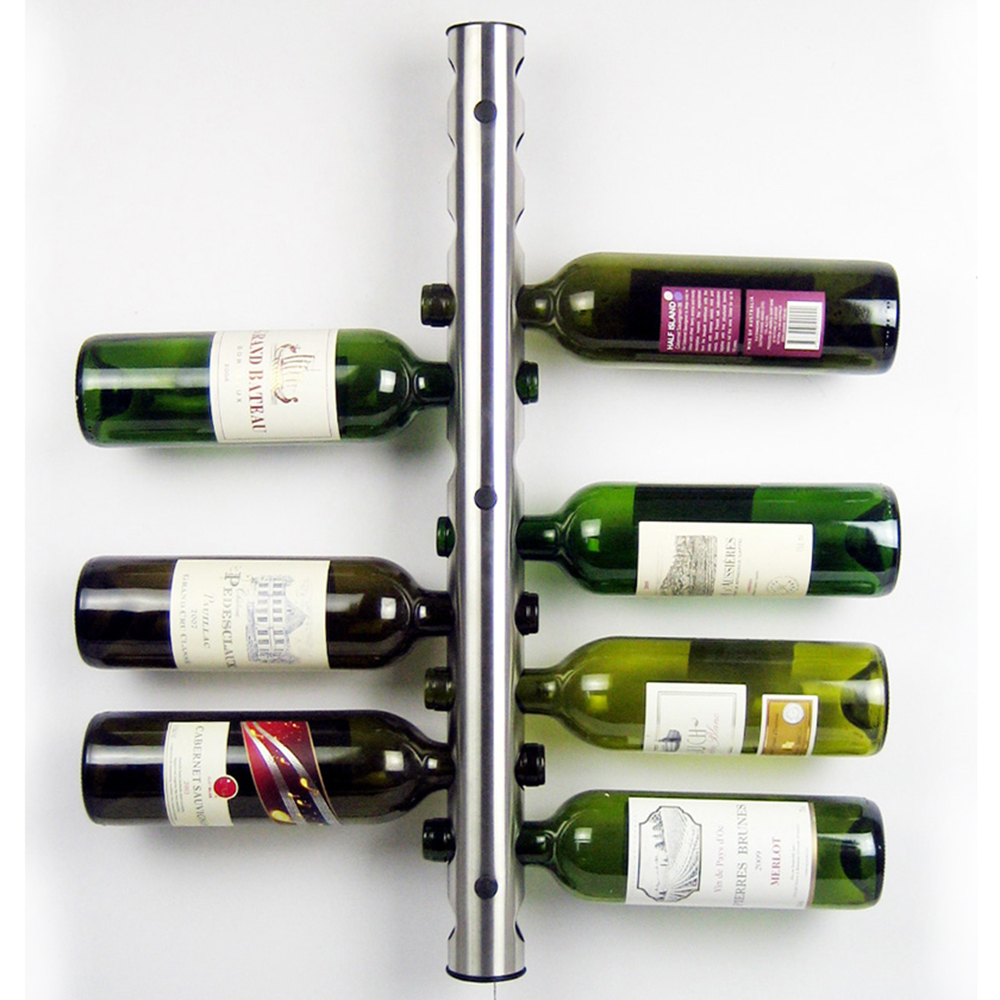 stainless steel wine rack bar wall mounted kitchen holder   - stainless steel wine rack bar wall mounted kitchen holder  bottles