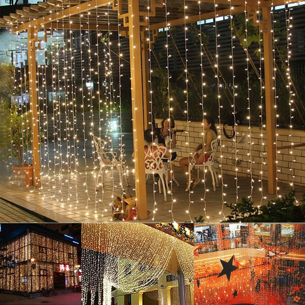 Curtain christmas lights - 9 8ftx6 6ft 224led Christmas Xmas String Fairy Wedding Curtain Light Warm White