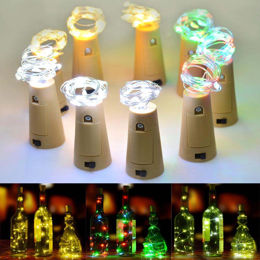 3x starry copper wire light string cork shaped led bottle for Light up wine bottles