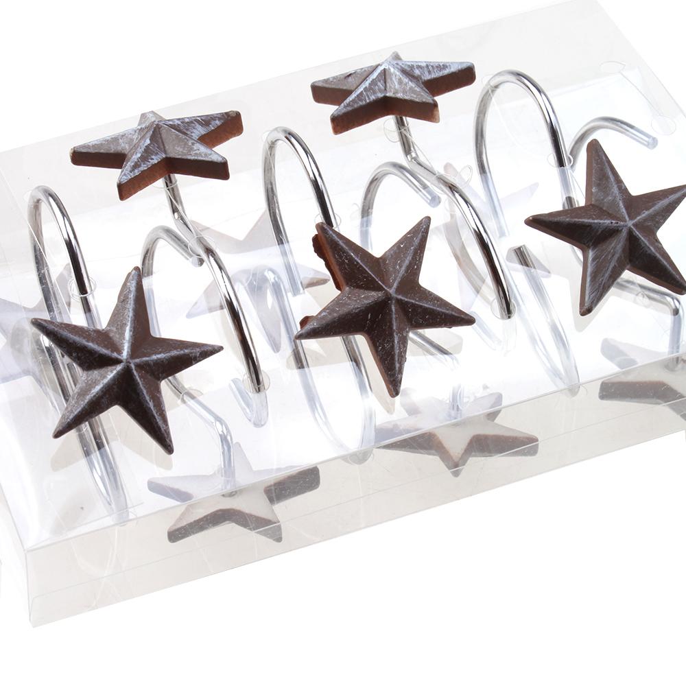 NEW AGPTEK 12 PCS decorative star rolling shower curtain ...