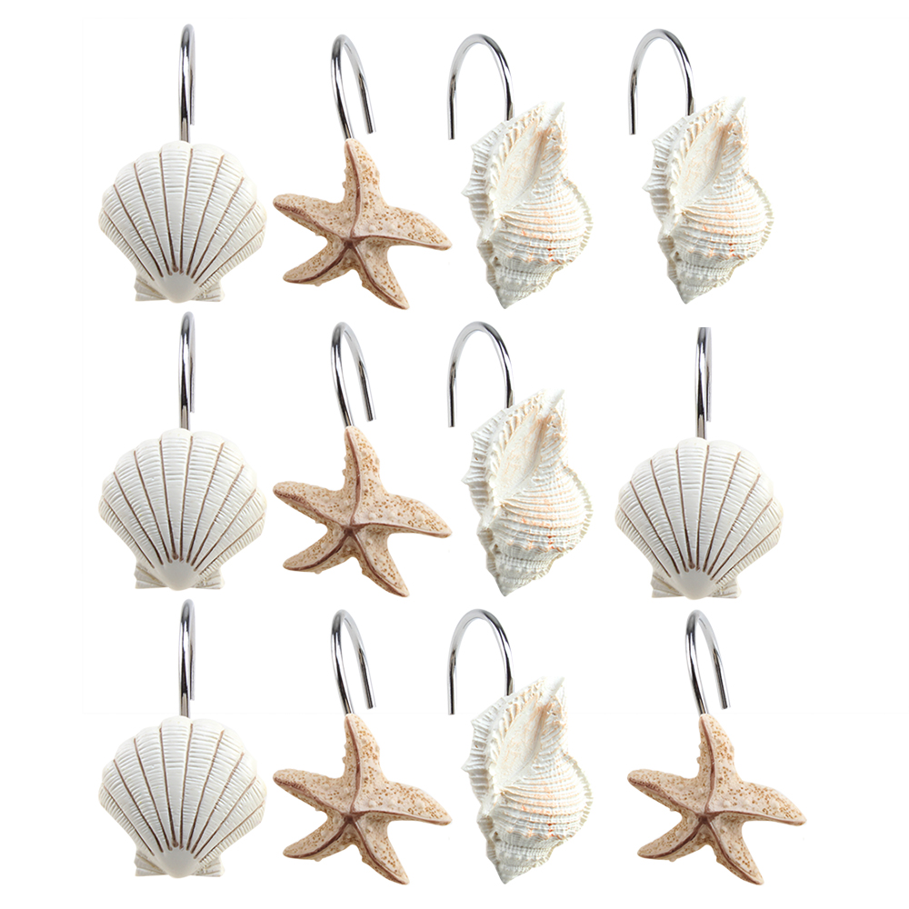 12 Pcs Decorative Seashell Shower Curtain Hooks Bathroom Beach Shell Decor  New.