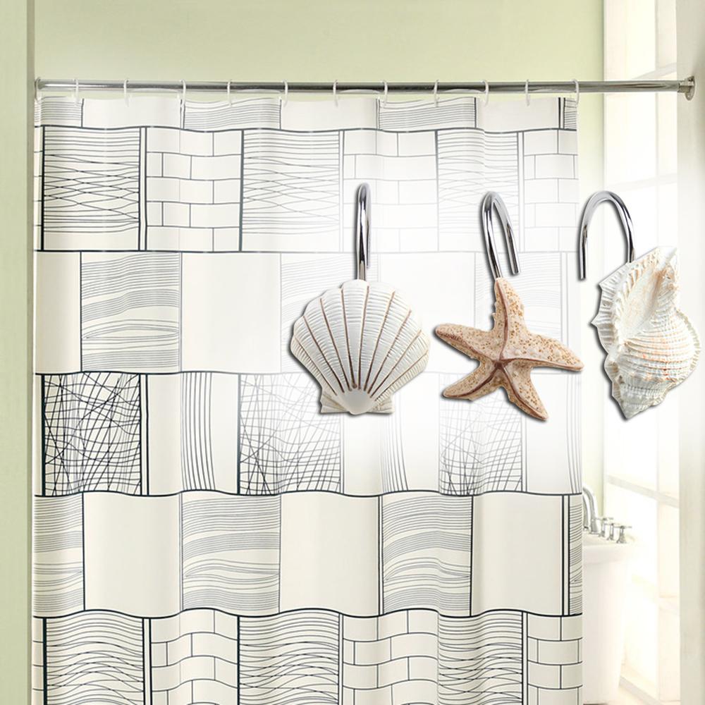Beachy shower curtains - Description This 12pcs Seashell Shower Curtain