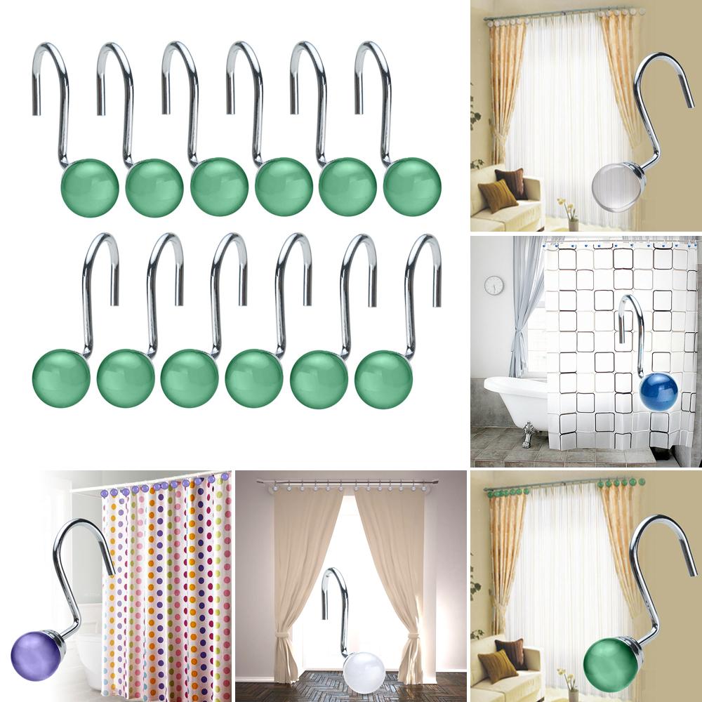 Rhinestone shower curtain hooks - 12pcs Fashion Crystal Rhinestone Shower Curtain Hooks Decorative Home Bathroom